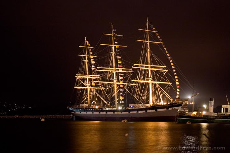 Balclutha in the San Francisco bay, at night