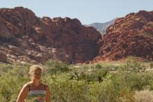 Melissa in front of Red Rock Canyon